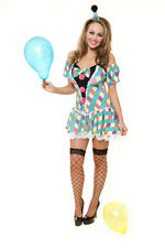 Ladies Womens Sexy Clown Harlequin Check Circus Girl Fancy Dress Cute Pom Pom