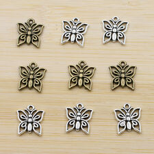 20/50Pcs Tibet Silver Butterfly Charms Pendants Antique Beaded Jewelry Findings