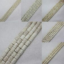 3x4-12x16mm White Turquoise Tube loose beads 15""