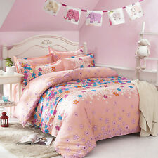 Colorful Flowers Double Queen King Size Bed Set Pillowcases Quilt Duvet Cover