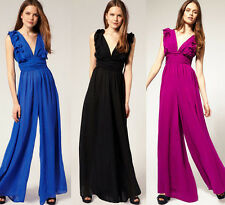 Sexy Low Cut Party Cocktail Ruffel Jumpsuit Maxi Dress Chiffon Wide Leg Pants wn