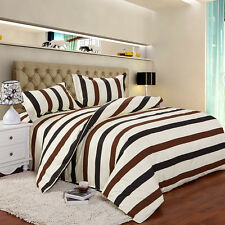 Simple Strip Single Double Queen King Size Bed Set Pillowcases Quilt Duvet Cover