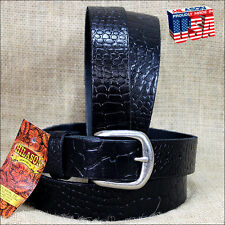 BLACK 1.5in LEATHER BELT CROCODILE EMBOSSED DESIGN MADE IN USA