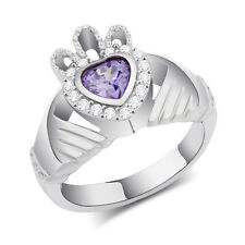 Womens Girls Crystal Stainless Steel Claddagh Heart Crown Ring Purple Silver