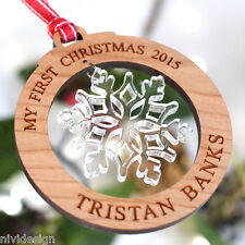 Personalised My First Christmas Tree Decorations Snowflake Bauble Gift