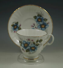 VTG ROYAL GRAFTON ENGLAND BLUE ROSES TEACUP, CUP AND SAUCER SET PORCELAIN