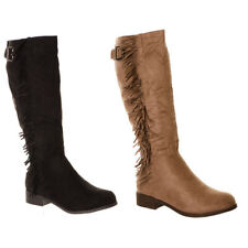 Women's Flat Faux Suede Tassel Knee Boots Ladies Fringed Sides Style Boots