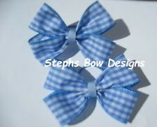 """LOT 2 BLUE & WHITE GINGHAM 4"""" PIGTAIL HAIR BOW SET Dorothy WIZARD of OZ ADULT"""