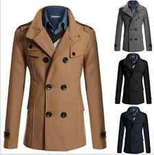Mens Winter Slim Double Breasted Trench Coat Long Jacket Overcoat Outwear