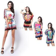 Women Mini Dress Chrysanthemum O-Neck Batwing Sleeve Loose Cocktail Party NEW