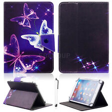 "Purple Butterfly Universal Leather Case Cover Stand for 7"" ~ 7.9"" inch Tablet PC"
