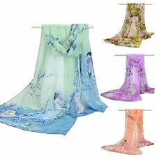 Women Lady Amazing Long Chiffon Stole Shawl Flower Printed Wrap Soft Robe Scarf