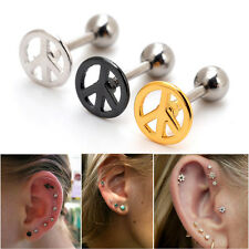2pc 16G Peace Sign Upper Ear Cartilage Earring Stud Helix Auricle Piercing 1/4""