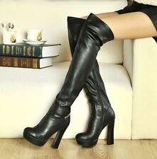 Thigh High Zip Womens Leather Platform Chunky heels Over The Knee Boots Shoes