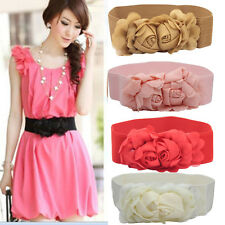 Fashion Woimens Belt Double Rose Flower Buckle Elastic Waist Belt Lady Waistband