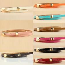 New Women Lady Leather Belt Thin Skinny Metal Buckle Waist Belt Thin Waistband