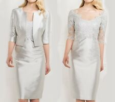 Gorgeous Silver Mother Of The Bride Dress With Jacket Formal Gowns Plus Size 20+