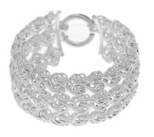Bold Wide Sterling Multi-Row Love Knot Bracelet REAL 925 Sterling Silver QVC