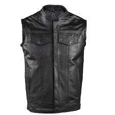 Men's Motorcycle SOA OutlawREAL LEATHER Anarchy Biker Club Concealed Carry Vest