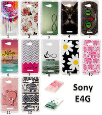 Soft TPU Patterned Paint Rubber Silicone Gel Skin Case Cover For Sony Xperia E4G
