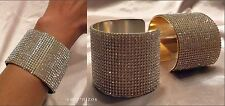 """GOLD or SILVER PAVE CRYSTAL DANGLE RHINESTONE 2"""" or 2.5"""" CUFF BRACELET NEW"""