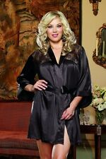Romantic Sexy Women's Satin Lace Robe Lingerie Black Green G-String Plus Size