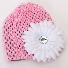 Cute Baby Infant Girl Versatile Crochet Beanie Hat Cap Rhinestone Hairclip