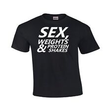 Sex Weights & Protein Shakes Funny T Shirt Bodybuilder Gym Workout Unisex TShirt