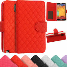 Leather Wallet Cover Quilted Stitched Case For Samsung Galaxy Note 3 N9000 N9005