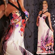 Womens Maxi Dress Size 10-12 Long Sexy Sleeveless Floral Cocktail Party Casual