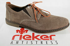 Rieker Men's Lace-up Shoes, beige, Suede leather, Leather insole, NEW