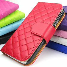 Leather Wallet Quilted Stand Flip Case Cover For Samsung Galaxy S4 IV i9500