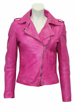 Ladies Women's BRANDO Pink Fashion Biker Style Soft Leather Rock Jacket