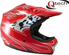 Children's Kids MOTOCROSS Crash Helmet Off Road BMX Dirt Mountain Bike - RED