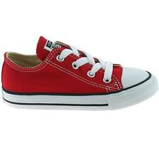 BOYS CONVERSE CANVAS ALL STAR TRAINERS SIZE UK 4 - 10 INFANTS OX RED 7J236