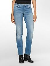 calvin klein womens straight leg light blue wash jeans