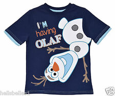 "BOY/GIRLS DISNEY ""I'M HAVING OLAF"" FROZEN SHORT SLEEVE T SHIRT 18M 2 3 4 5 6 YRS"
