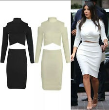 WOMEN LADIES CELEB KIM KARDASHIAN CUT OUT SHOULDER CROP TOP SKIRT MIDI BODYCON
