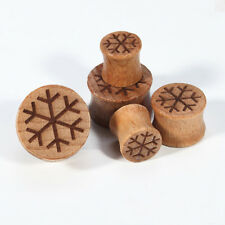 1 pair 00g-20mm Snowflake Wooden Ear Plug Gauges Expansion Earring Lobe Piercing
