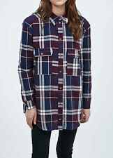 NEW URBAN OUTFITTERS BDG OVERSIZED CHECKED TUNIC SHIRT PLUM PURPLE XS to L
