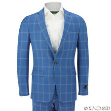 Mens Large Windowpane White Check Slim Fit Blue Suit Smart Casual Blazer Trouser