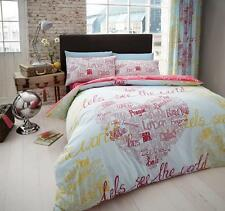 World heart duvet quilt cover bed set and pillowcase single double King new