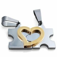 2pcs His and Hers Stainless Steel Love Heart Puzzle Pendant Couple Necklaces