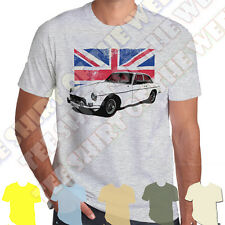 MGB GT Union Jack Mens White Tshirt - Personalised number plate available