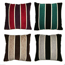 """Striped Chenille Cushion Covers / Filled 17""""x 17"""" Heavyweight but Soft Scatter"""