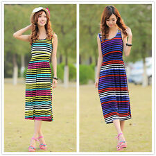 Womens Girls Beach Stripe Maxi Long Jersey Bodycon Dress Party Cocktail Summer