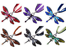 Womens Vintage Fashion Rhinestone Crystal Dragonfly Pendant Long Chain Necklace