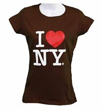 I Love NY New York Womens T-Shirt Spandex Tee Heart Brown