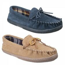 Mirak ALBERTA Mens Suede Leather Casual Comfy Soft Moccasin Slippers Beige/Navy