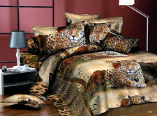 3D Luxury Duvet Cover Pillowcases Quilt Cover Bed Set Queen King Brown Tiger L